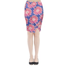Pink Daisy Pattern Midi Wrap Pencil Skirt by DanaeStudio
