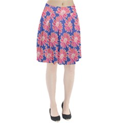 Pink Daisy Pattern Pleated Skirt