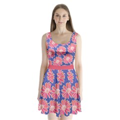 Pink Daisy Pattern Split Back Mini Dress  by DanaeStudio