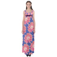 Pink Daisy Pattern Empire Waist Maxi Dress