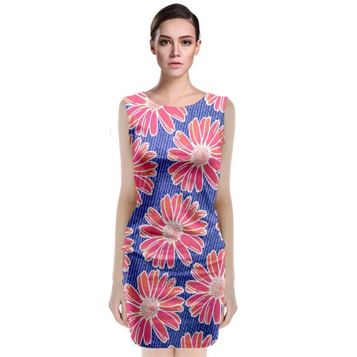 Pink Daisy Pattern Classic Sleeveless Midi Dress