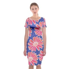 Pink Daisy Pattern Classic Short Sleeve Midi Dress