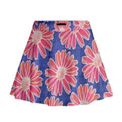 Pink Daisy Pattern Mini Flare Skirt