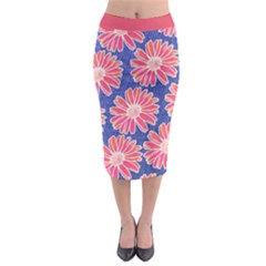 Pink Daisy Pattern Midi Pencil Skirt