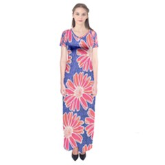 Pink Daisy Pattern Short Sleeve Maxi Dress
