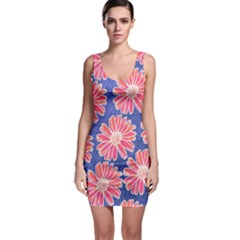 Pink Daisy Pattern Bodycon Dress