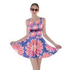 Pink Daisy Pattern Skater Dress