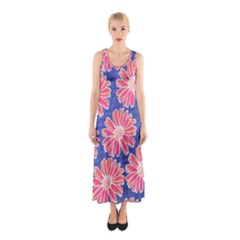 Pink Daisy Pattern Sleeveless Maxi Dress