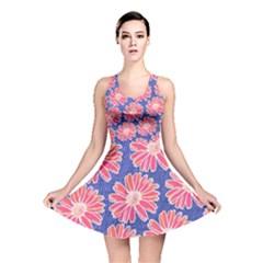 Pink Daisy Pattern Reversible Skater Dress by DanaeStudio