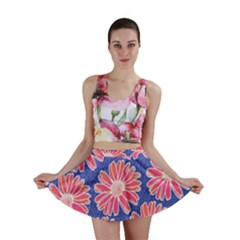 Pink Daisy Pattern Mini Skirt