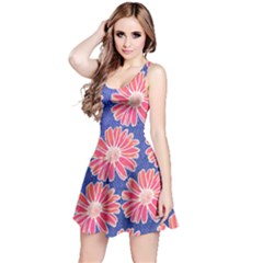 Pink Daisy Pattern Reversible Sleeveless Dress