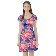 Pink Daisy Pattern Short Sleeve Skater Dress