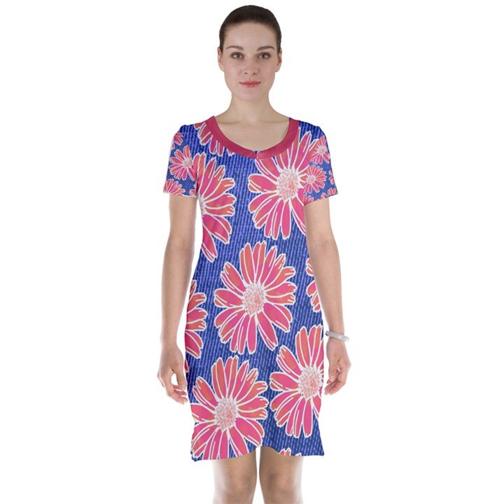 Pink Daisy Pattern Short Sleeve Nightdress