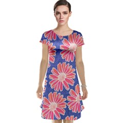 Pink Daisy Pattern Cap Sleeve Nightdress