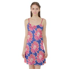 Pink Daisy Pattern Satin Night Slip