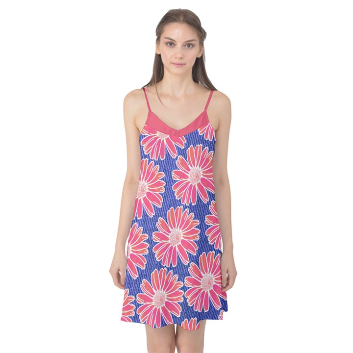 Pink Daisy Pattern Camis Nightgown