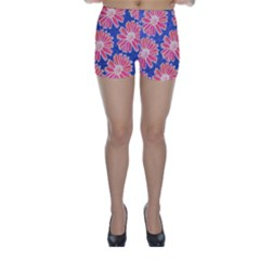Pink Daisy Pattern Skinny Shorts by DanaeStudio