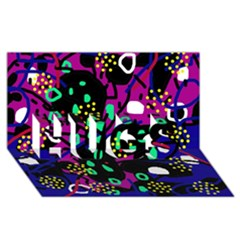 Abstract Colorful Chaos Hugs 3d Greeting Card (8x4)