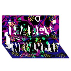 Abstract Colorful Chaos Happy New Year 3d Greeting Card (8x4) by Valentinaart
