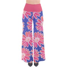Pink Daisy Pattern Women s Chic Palazzo Pants  by DanaeStudio