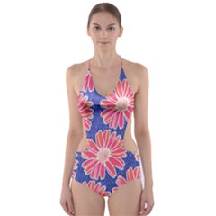 Pink Daisy Pattern Cut Out One Piece Swimsuit by DanaeStudio