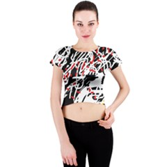Colorful chaos by Moma Crew Neck Crop Top by Valentinaart