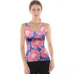 Pink Daisy Pattern Tank Top