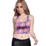 Pink Daisy Pattern Racer Back Crop Top