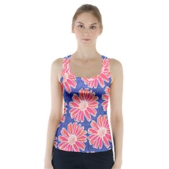 Pink Daisy Pattern Racer Back Sports Top by DanaeStudio