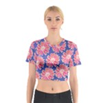 Pink Daisy Pattern Cotton Crop Top
