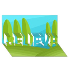 Green And Blue Landscape Believe 3d Greeting Card (8x4) by Valentinaart