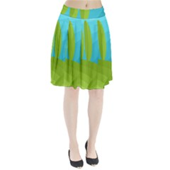 Green and blue landscape Pleated Skirt by Valentinaart