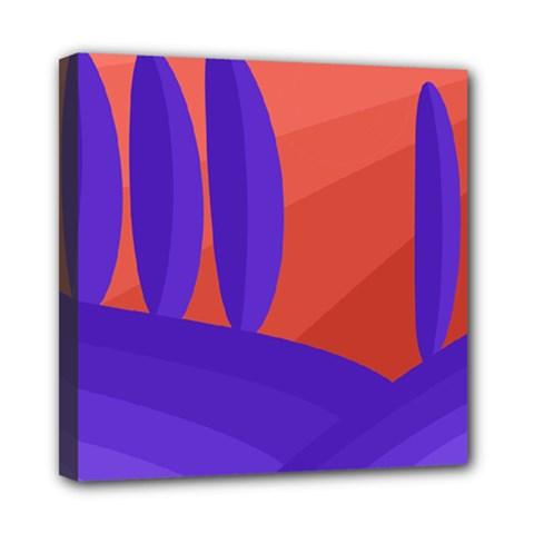 Purple And Orange Landscape Mini Canvas 8  X 8  by Valentinaart