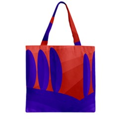 Purple And Orange Landscape Zipper Grocery Tote Bag by Valentinaart