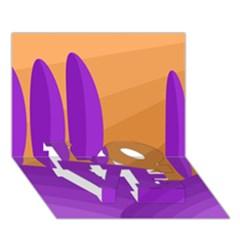 Orange and purple landscape LOVE Bottom 3D Greeting Card (7x5)
