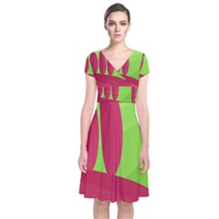 Green And Red Landscape Short Sleeve Front Wrap Dress