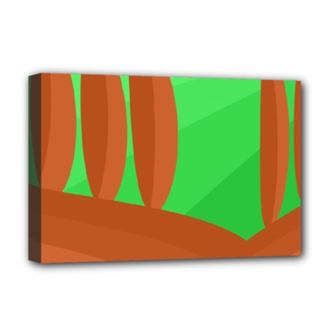 Green And Orange Landscape Deluxe Canvas 18  X 12   by Valentinaart