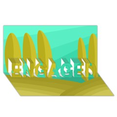 Green And Yellow Landscape Engaged 3d Greeting Card (8x4) by Valentinaart