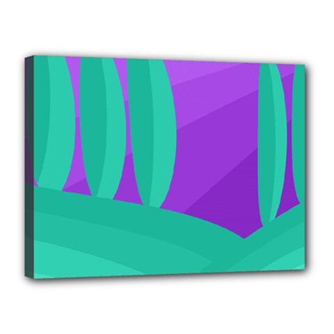 Purple And Green Landscape Canvas 16  X 12  by Valentinaart