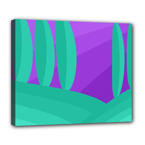 Purple and green landscape Deluxe Canvas 24  x 20   by Valentinaart