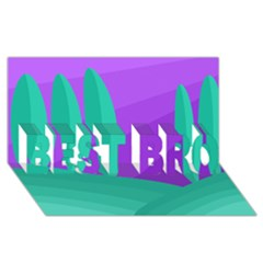 Purple And Green Landscape Best Bro 3d Greeting Card (8x4) by Valentinaart