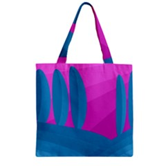 Pink And Blue Landscape Zipper Grocery Tote Bag by Valentinaart