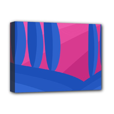 Magenta And Blue Landscape Deluxe Canvas 16  X 12   by Valentinaart