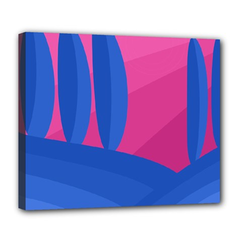 Magenta And Blue Landscape Deluxe Canvas 24  X 20   by Valentinaart