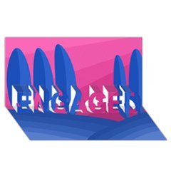 Magenta And Blue Landscape Engaged 3d Greeting Card (8x4) by Valentinaart