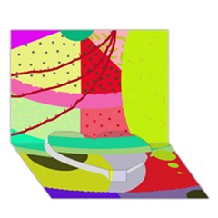 Colorful Abstraction By Moma Heart Bottom 3d Greeting Card (7x5) by Valentinaart