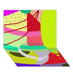 Colorful abstraction by Moma Circle Bottom 3D Greeting Card (7x5) by Valentinaart
