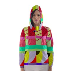 Colorful Abstraction By Moma Hooded Wind Breaker (women) by Valentinaart