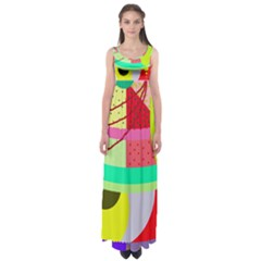Colorful Abstraction By Moma Empire Waist Maxi Dress by Valentinaart