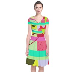 Colorful Abstraction By Moma Short Sleeve Front Wrap Dress by Valentinaart